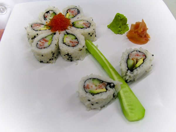 California Roll Sushi rolls filled with avocado and crab. Served with ...